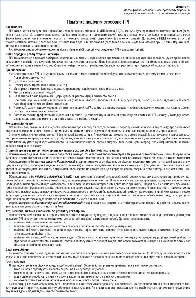 Додаток 1 до Уніфікованого клінічного протоколу первинної  медичної допомоги «Гострі респіраторні інфекції» Пам'ятка пацієнту стосовно ГРІ