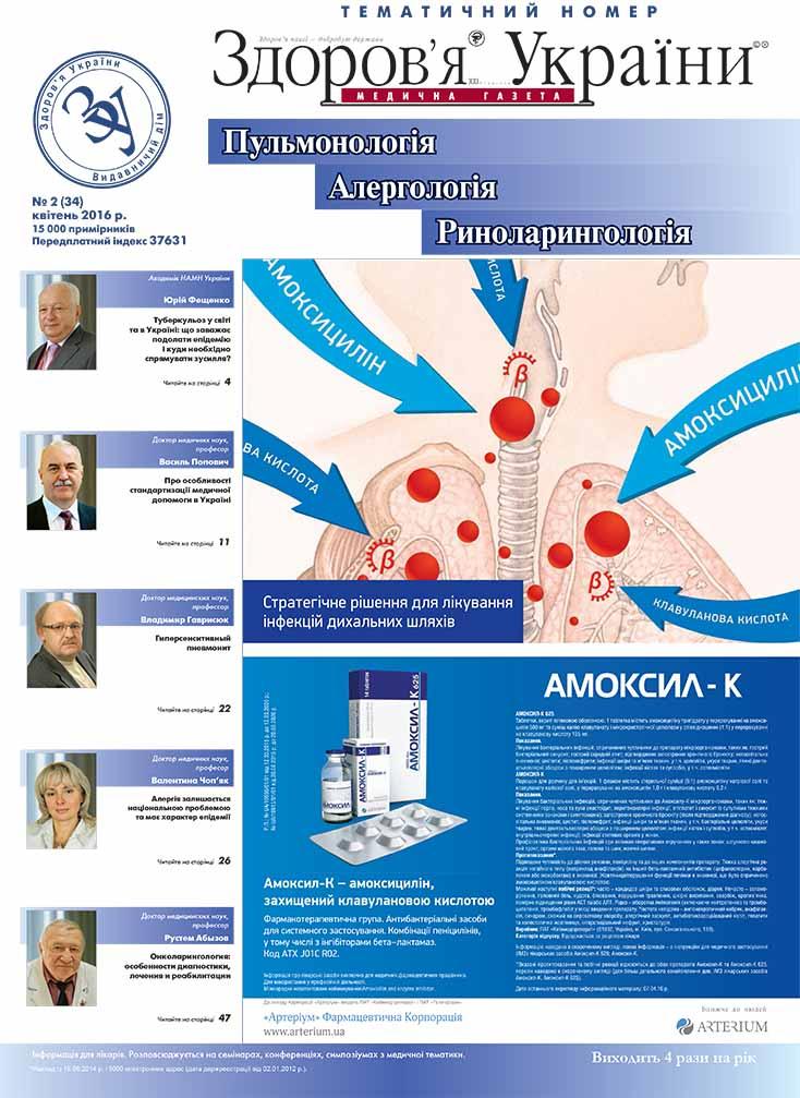 Тематичний номер «Пульмонологія, Алергологія, Риноларингологія» № 2 (34), квітень 2016 р.